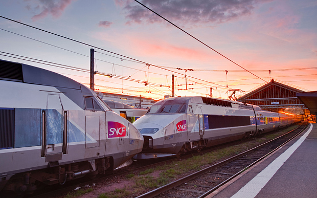 D933F2 A TGV awaits departure at Tours railway station in France.